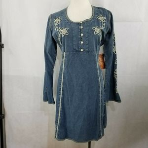 Scully Denim Embroidered Dress Tie Back S Small